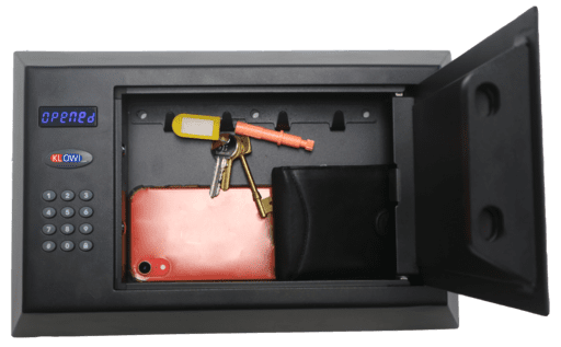 Personal Safe with keys , wallet and phone in